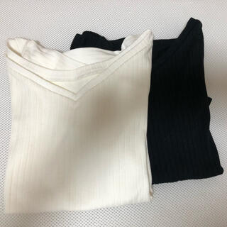 ヴァンドゥーオクトーブル(22 OCTOBRE)の22オクトーブル  リブカットソー ホワイト 黒 サイズ2(カットソー(半袖/袖なし))