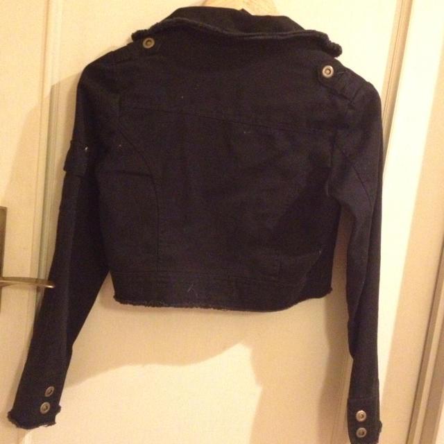 ミニ丈黒ジャケット レディースのジャケット/アウター(ライダースジャケット)の商品写真