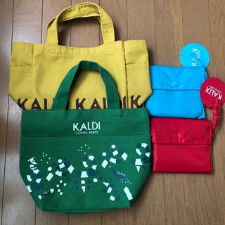 KALDI - KALDI  カルディ ミニトートバッグ 緑色 未使用&エコバック(赤、水色)