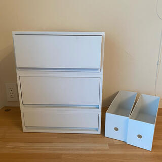 MUJI (無印良品) - まとめ売り 無印良品 ポリプロピレン収納 ファイルボックス ホワイトグレー 引出