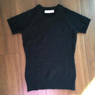 マテリアルガール(MaterialGirl)のマテリアルガール ニットセーター 半袖ブラック黒(ニット/セーター)