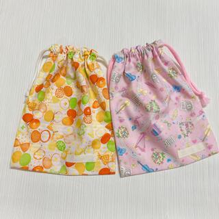 巾着セット 給食袋 女の子 リボンちょうちょ オレンジ 楽器 ピンク(外出用品)
