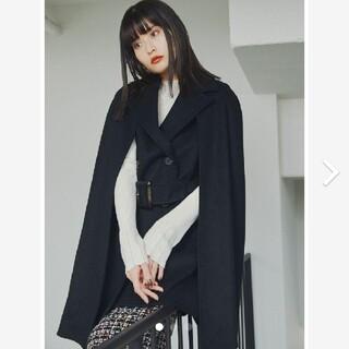 リリーブラウン(Lily Brown)の新品タグ付 2WAYケープコート 黒 LILY BROWN(ポンチョ)
