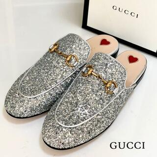 Gucci - 3059 未使用 グッチ プリンスタウン サンダル グリッター シルバー
