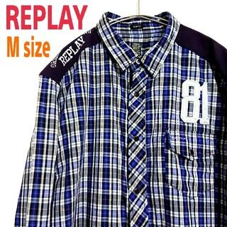 リプレイ(Replay)のREPLAY リプレイ 切替 タータンチェック シャツ 背面 ビッグロゴ 刺繍(シャツ)