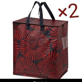 IKEA - お洒落♪赤花柄 IKEA新品イケア インルップ LLサイズ 2枚 キャリーバッグ