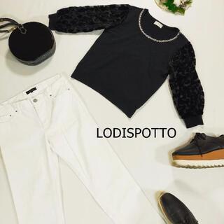 ロディスポット(LODISPOTTO)のロディスポット ニット サイズM ブラック 袖シースルー デコルテビジュー(ニット/セーター)