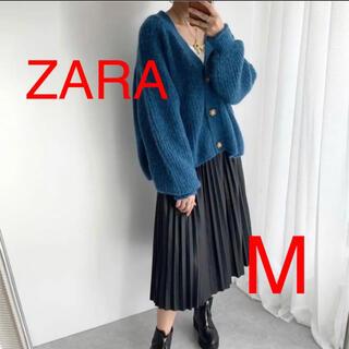 ザラ(ZARA)のZARA 裏編ニットカーディガン Vネックカーディガン M ブルー 完売(カーディガン)