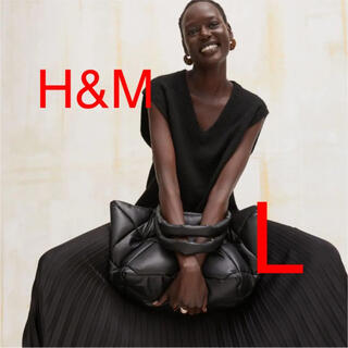 エイチアンドエム(H&M)のH&M Vネックプルオーバーベスト ブラック L(ベスト/ジレ)
