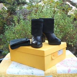 フェンディ(FENDI)のフェンディ ショートブーツ 黒 36 イタリア製(ブーツ)