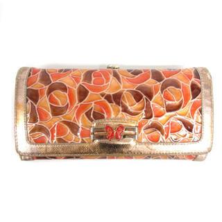 ANNA SUI - アナスイ 長財布 がま口 エナメル ロングウォレット 総柄 オレンジ系