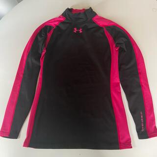 アンダーアーマー(UNDER ARMOUR)の美品☆ LG コールドギア モックネック 長袖シャツ ピンク×黒(Tシャツ(長袖/七分))