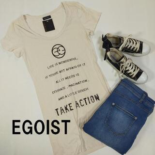エゴイスト(EGOIST)の未使用 エゴイスト Tシャツ ワンピース フリーサイズ ホワイト 白 プリント(Tシャツ(半袖/袖なし))