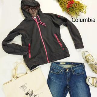 コロンビア(Columbia)のコロンビア パーカー サイズM ブラック ピンク フード 花柄 インナーボア(パーカー)
