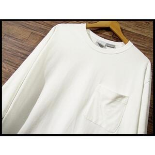 Columbia - G① XL コロンビア 肉厚 ヘビーウエイト 胸ポケット 長袖 Tシャツ 白