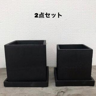 オシャレセメント鉢 大中2点セット アイアンブラック(プランター)