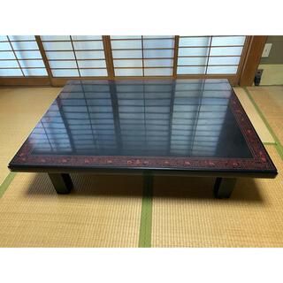 木製 大型ローテーブル 黒(ローテーブル)