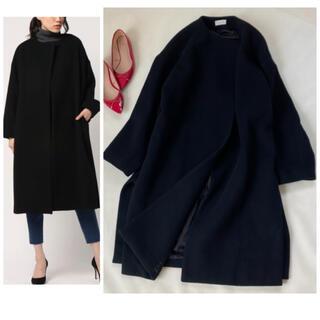 DEUXIEME CLASSE - ドゥーズィエムクラス オーバーサイズ ロングコート ウール ノーカラー 秋服冬服