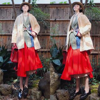 フェンディ(FENDI)のイタリア製 fendiフェンディ プリーツフレアロングスカート ジャガード変型(ロングスカート)