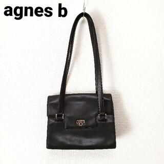 アニエスベー(agnes b.)のagnes b アニエスベー レザー ハンドバッグ 肩がけ 黒 ブラック(ハンドバッグ)