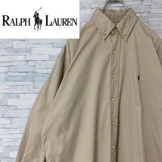 Ralph Lauren - 【超人気】ラルフローレン BDシャツ 長袖 刺繍ロゴ ベージュ S(大きめ)