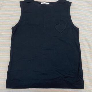 ミュベールワーク(MUVEIL WORK)のハートポケット ノースリーブ ブラック(カットソー(半袖/袖なし))