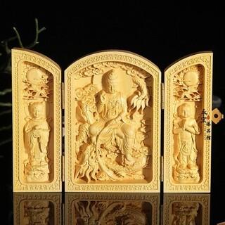 観音 置物 風水 木彫り 彫刻 インテリア