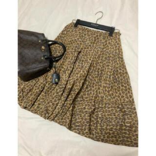 プラダ(PRADA)の美品 PRADA レオパード スカート プラダ(ひざ丈スカート)