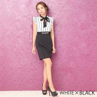 dazzy store - デイジーストア リボン付ストライプ刺繍モノトーンタイトミニドレス