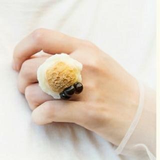 キューポット(Q-pot.)の【新品未使用】 Qpot タピオカアイスクリーム ミルクティー リング(リング(指輪))