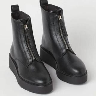 エイチアンドエム(H&M)の完売品 H&M フロント ジップ ブーツ 37(ブーツ)