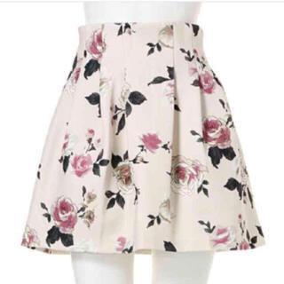 ダズリン(dazzlin)のダズリン 薔薇柄 ボンディングスカート ホワイト ローズ dazzlin(ミニスカート)