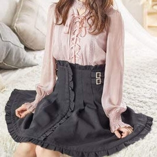ロジータ(ROJITA)のROJITA ベルト ハイウエスト フリル フレア スカート 膝上 ブラック(ミニスカート)