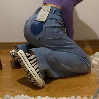 ウィゴー(WEGO)のheart pocket jeans ハートポケットデニムジーンズ(デニム/ジーンズ)