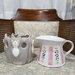 廃盤の可愛いなレトロ【Seto Craft】の陶器ポット【2点セット】・*。❁(プランター)