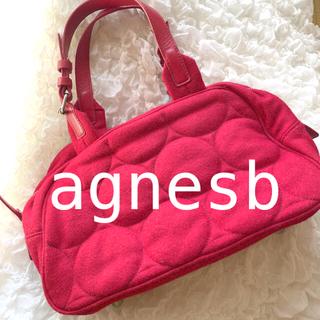 アニエスベー(agnes b.)の美品 agnesb アニエスベー ボヤージュ 赤 バッグ トート ドット ウール(ハンドバッグ)