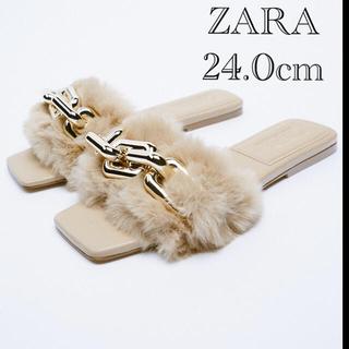 ZARA - ZARA バックルフェイクファーフラットサンダル