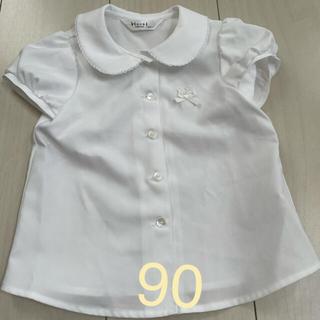 ミキハウス(mikihouse)の90サイズ 半袖シャツ ホワイトシャツ 美品!!(ブラウス)