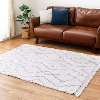 北欧 シャギーラグ ふかふか  ノア 床暖房対応 アイボリー 140×200(ラグ)