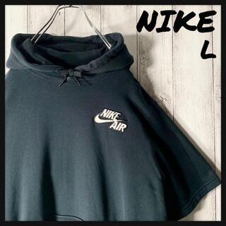 ナイキ(NIKE)の【美品 L】ナイキ NIKE 刺繍ロゴ スウェット パーカー 半袖 黒(パーカー)