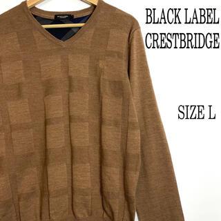 ブラックレーベルクレストブリッジ(BLACK LABEL CRESTBRIDGE)のブラックレーベル クレストブリッジ Vネック ニット ブラウン L(ニット/セーター)