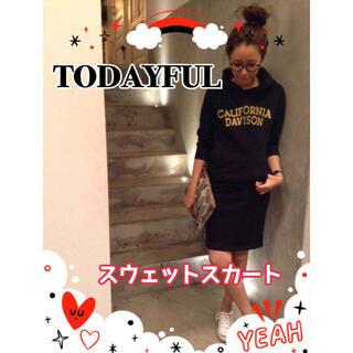 トゥデイフル(TODAYFUL)の【古着】トゥデイフル☆スウェットスカート☆ネイビー☆フリーサイズ(ひざ丈スカート)