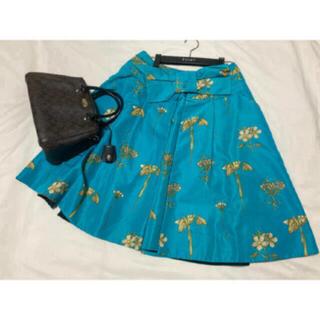 プラダ(PRADA)の美品 PRADA シルク 花柄 スカート プラダ リボン ブルー グリーン(ひざ丈スカート)