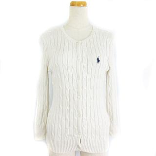 ラルフローレン(Ralph Lauren)のラルフローレン カーディガン ケーブルニット クルーネック ポニー刺繍 白 L(カーディガン)