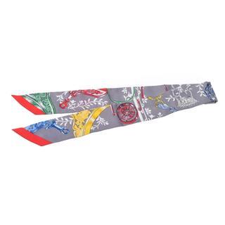 エルメス(Hermes)のエルメス  ツイリー スカーフ グレー/赤(バンダナ/スカーフ)