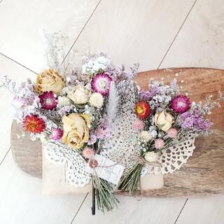2点set たっぷりバラとホワイトピンク系ドライフラワースワッグ 花束 ブーケ(ドライフラワー)