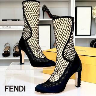 フェンディ(FENDI)の3118 未使用 フェンディ ニット メッシュ ミドルブーツ ブラック(ブーツ)