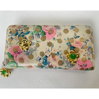 ツモリチサト(TSUMORI CHISATO)のツモリチサト 人気の ドットフラワーネコ ベージュ 花柄で可愛い(財布)