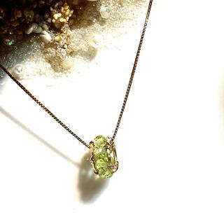14kgf宝石質ペリドットのリングペントップ(チャーム)