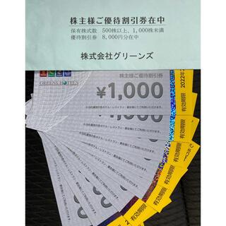 グリーンズ 株主優待割引券 8,000円分(その他)